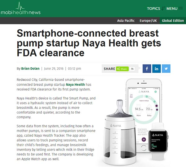 nayahealth breast pump press mention screenshot